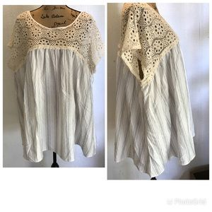 Tops - Free size lace and cotton tunic